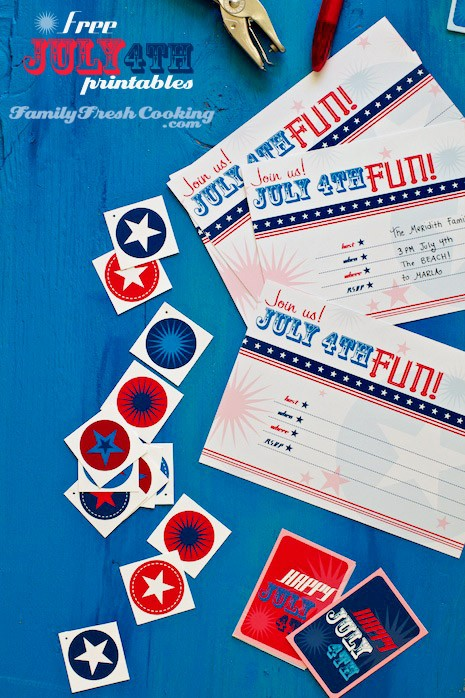 Freebie July 4th Invitations and Gift Tag Printables on MarlaMeridith.com blog