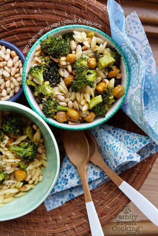 Orzo Pasta with Roasted Broccoli & Chickpeas | Vegan Recipe on MarlaMeridith.com #lunchbox #backtoschool