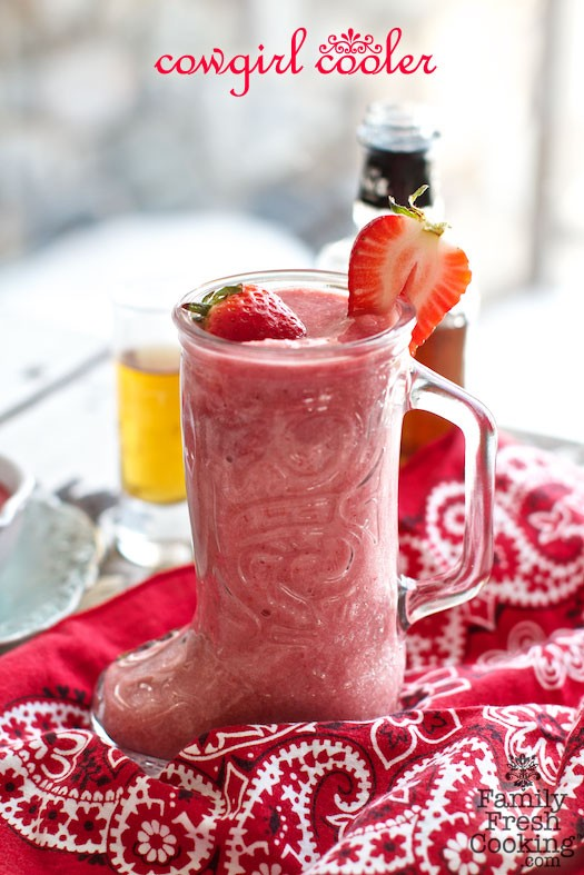 Cowgirl Coolers | Whiskey Strawberry Daiquiri Cocktail | recipe on MarlaMeridith.com