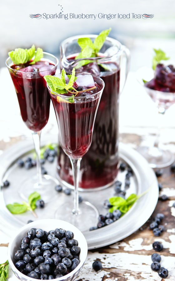 Sparkling Blueberry Ginger Iced Tea | MarlaMeridith.com
