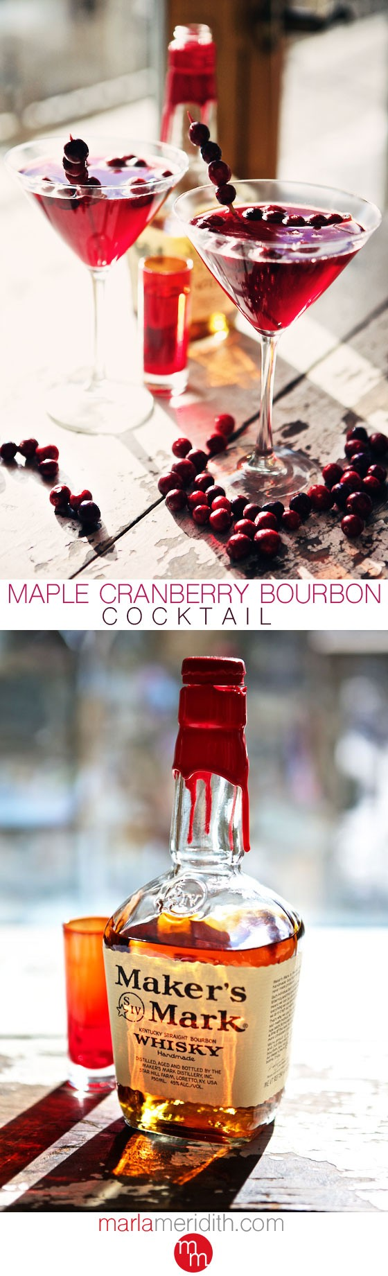 Maple Cranberry Bourbon Cocktail | MarlaMeridith.com