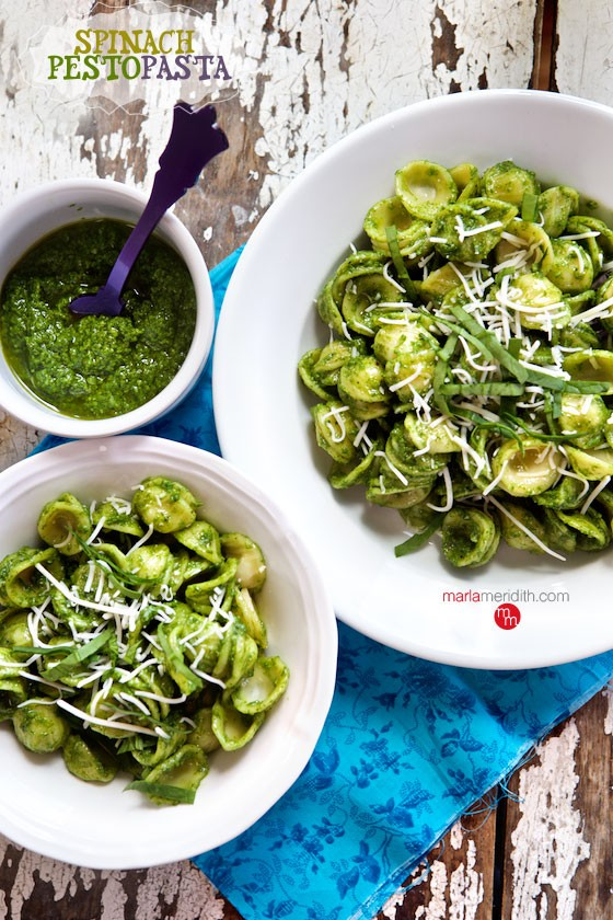 Spinach Pesto Pasta | A delicious & simple family meal! MarlaMeridith.com