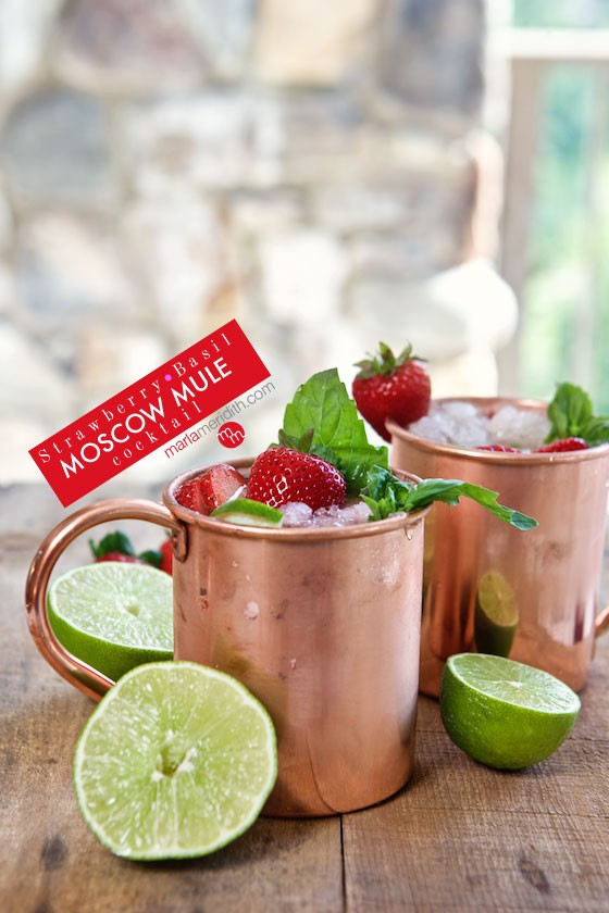 Watch this video & learn how to make Strawberry Basil Moscow Mules, you will love this recipe for the summer! MarlaMeridith.com
