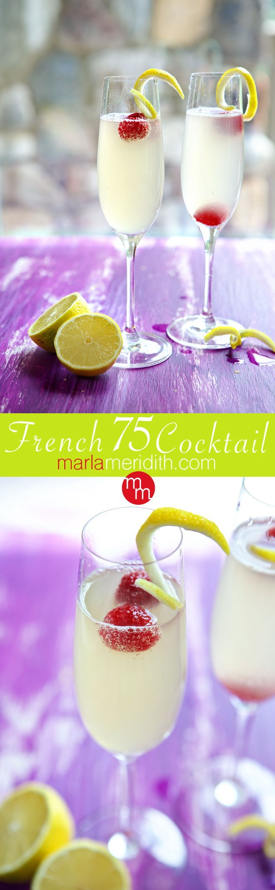 French 75 Cocktail | An elegant drink with lemon, gin & champagne ...