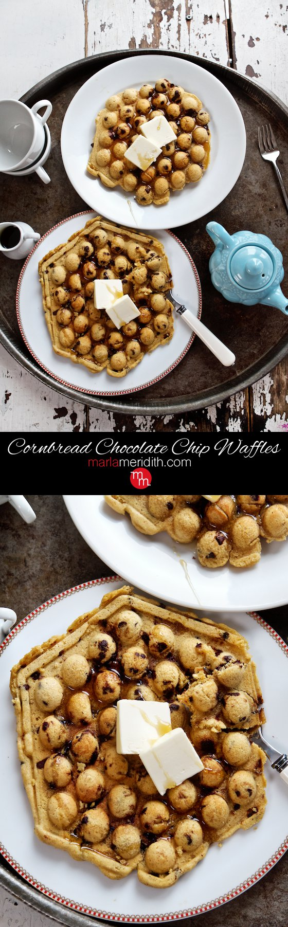 Chocolate Chip Cornbread Waffles your family will LOVE this recipe, especially chocolate lovers! MarlaMeridith.com ( @marlameridith ) #recipe #breakfast