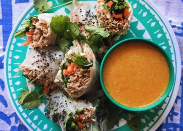 Chicken Spring Rolls with Carrot-Ginger Sauce
