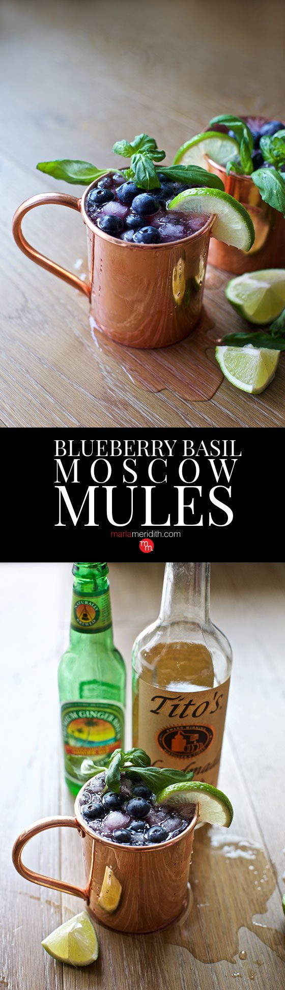 Celebrate summer with these BLUEBERRY BASIL MOSCOW MULE COCKTAILS! MarlaMeridith.com ( @marlameridith )
