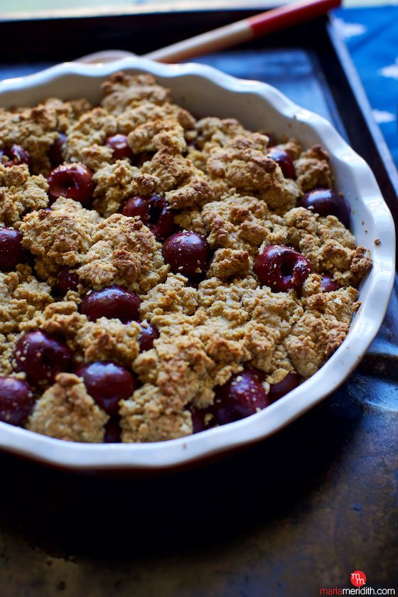 Cherry Cobbler with Maple Oat Topping. This #recipe is the ultimate summer time #dessert MarlaMeridith.com ( @marlameridith )
