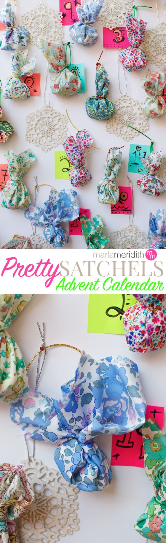 Pretty Satchels Advent Calendar DIY Craft. Make the countdown to Christmas more fun! MarlaMeridith.com ( @marlameridith )