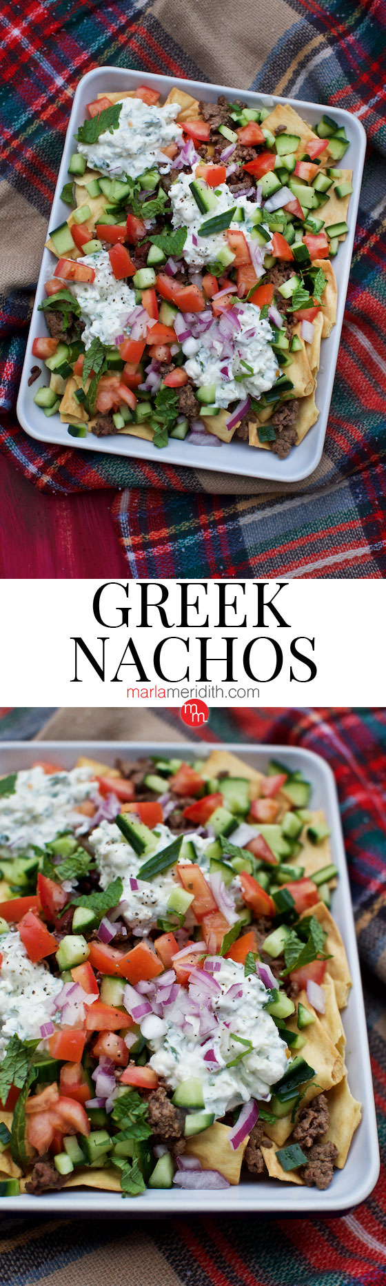 Greek Nachos, serve this delicious recipe at your next party! MarlaMeridith.com ( @marlameridith )