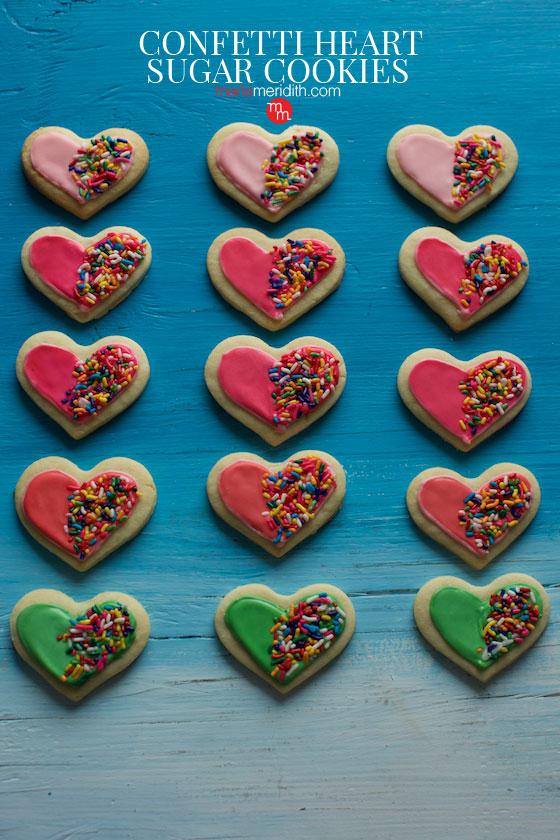 Confetti Heart Sugar Cookies recipe | MarlaMeridith.com