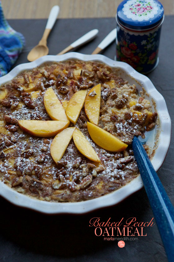 Baked Peach Steel Cut Oatmeal #recipe MarlaMeridith.com #oatmeal #breakfast