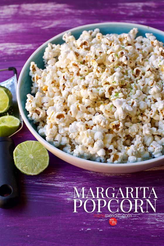 Serve this delicious Margarita Popcorn at your next football or Cinco de Mayo celebration! MarlaMeridith.com #recipe #popcorn