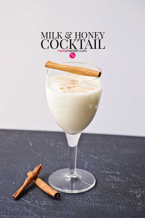 This Milk & Honey Cocktail is warming and delicious on a cold winters day. Great for apres ski too! MarlaMeridith.com #recipe #cocktail
