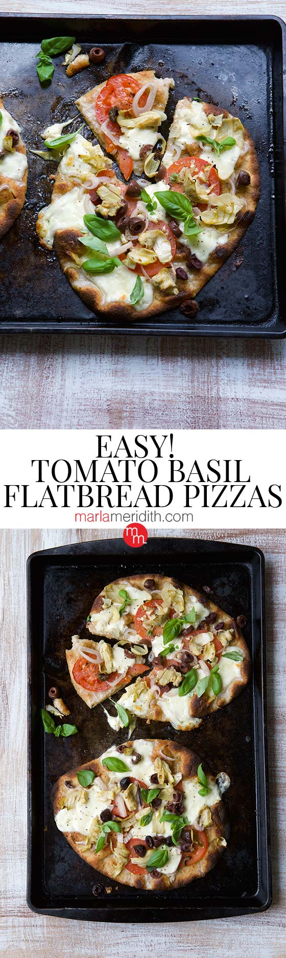 Make the most of summer produce with these Easy Tomato Basil Flatbread Pizzas ~ Get the recipe on MarlaMeridith.com