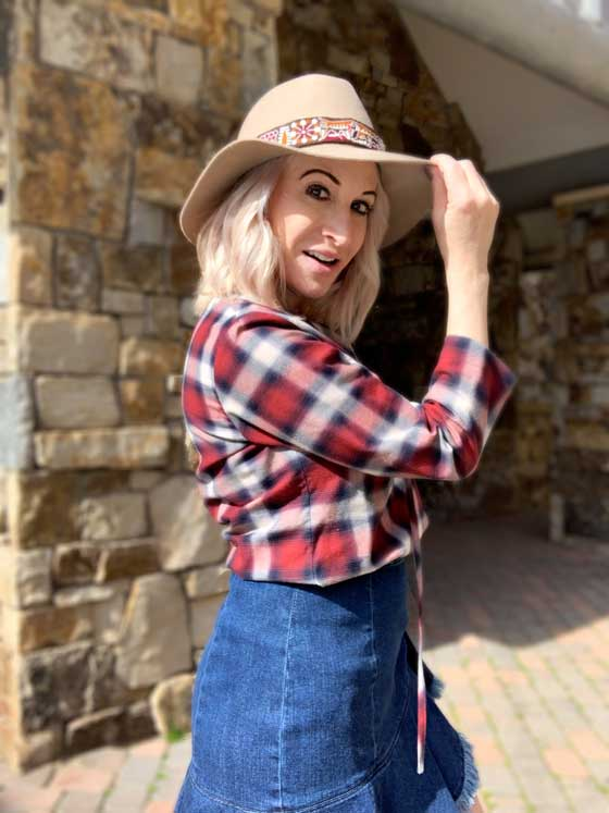 I love fashion this time of the year! These are some staple pieces that I collect & wear year after year: Denim Skirts, Plaid Blouses, Hats and Booties. Easily shop the look in this post. MarlaMeridith.com
