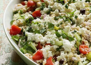 This Vegetarian Greek Barley Salad recipe is the perfect addition to any spring and summer meal planning and entertaining. MarlaMeridith.com