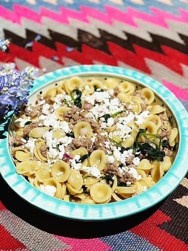 Orecchiette with Sausage & Spinach recipe